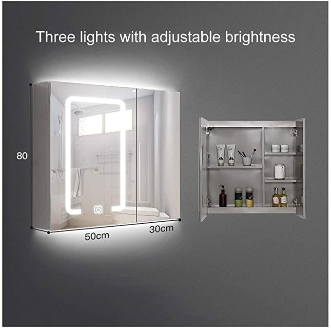 Dzwlyx Bathroom Vanity Mirror Wall Mounted Vertical Or Horizontal Dimmable Touch Switch Illuminated Mirror In 2020 Bathroom Mirror Led Mirror Bathroom Mirror Cabinets