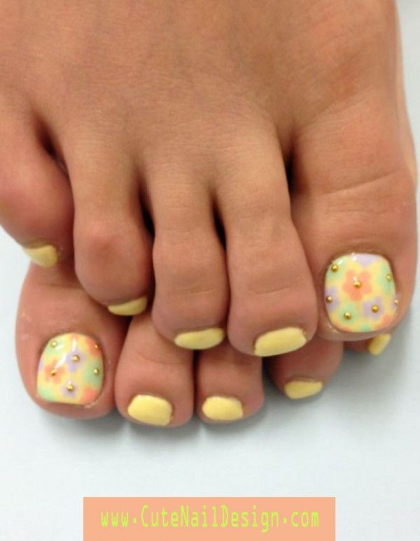 Pretty Toe Nail Designs | Pastel Yellow Gel Nail Floater with Colorful Pastel Flowers ...