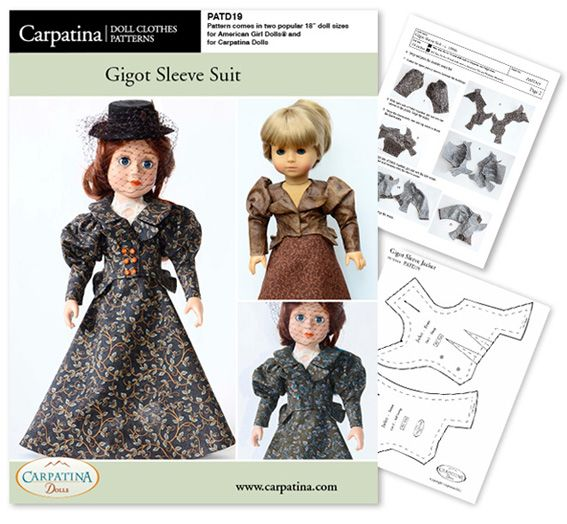 PATD19 American Girl Doll Gigot Sleeve Suit Pattern by Carpatina