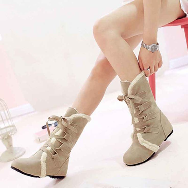 2016 New Fashion Lace-up Plus Size 35-45 Casual Flats Ankle Boots For Women Botas Femininas Warm Winter Snow Boots Shoes O1644 //Price: $US $19.67 & FREE Shipping //     #clothing