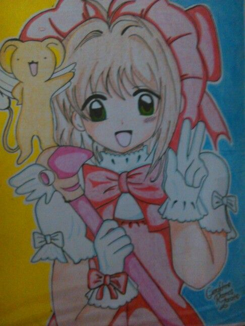 Drawing of Sakura and Kero Anime: Sakura Card Captor