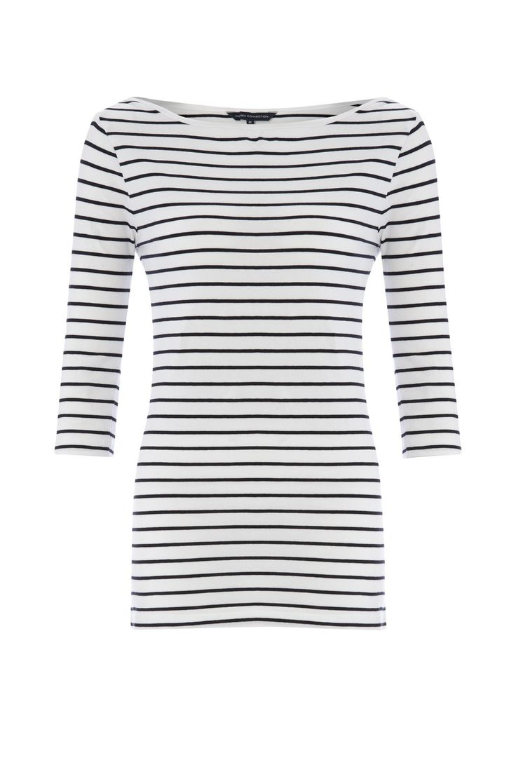 "<ul> <li> Stretch cotton top</li> <li> Stripes throughout</li> <li> Slash neckline</li> <li> 3/4 length sleeves</li> </ul>  <strong>Our model is 5ft 10.5"" and is wearing a UK size S.</strong>"