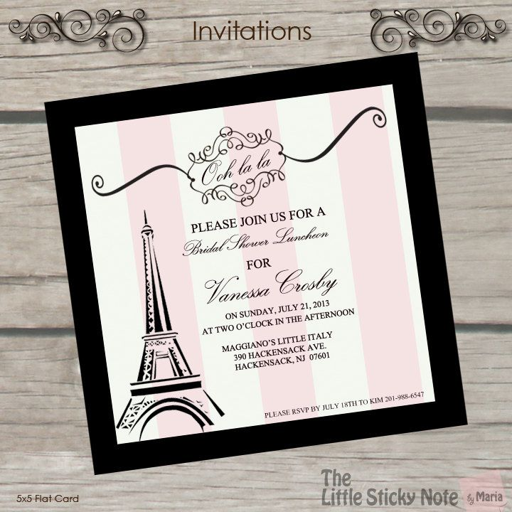 Paris Themed Bridal Shower Invitations by TheLittleStickyNote, $1.50
