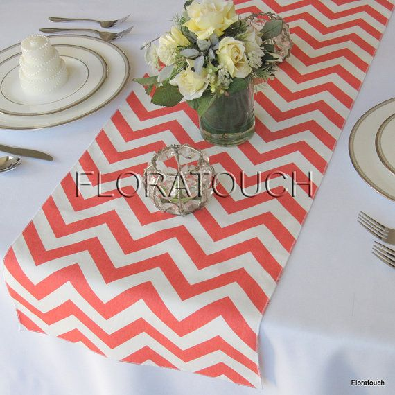 Coral and White Chevron Table Runner Wedding Table by floratouch, $12.00