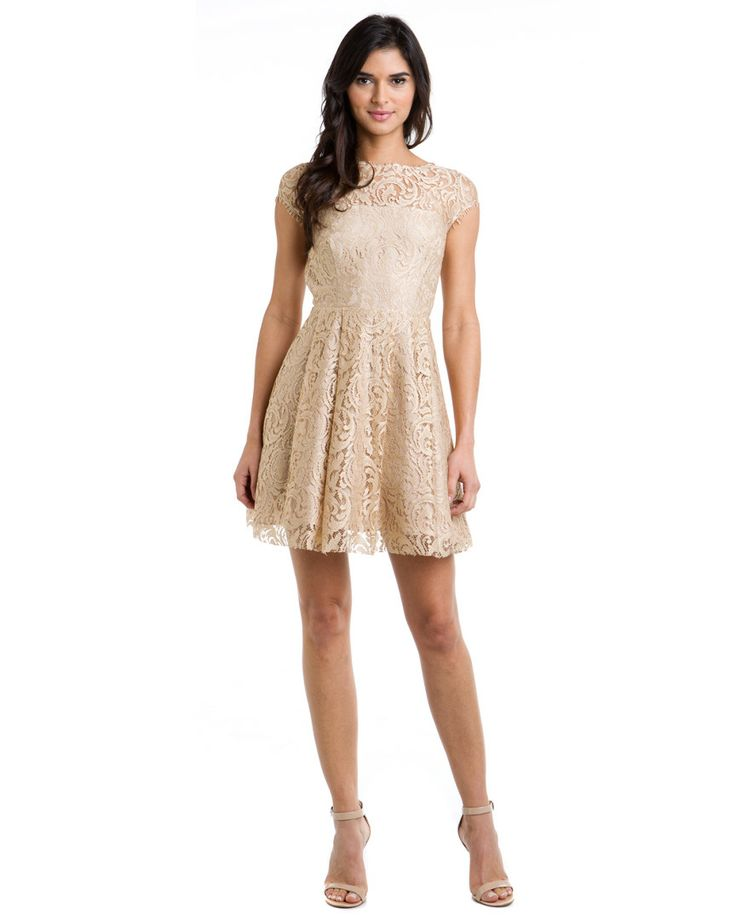 ABS by Allen Schwartz Beige Lace Open Back Dress Do you like?