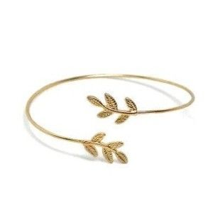 Bracelet feuille lariat or