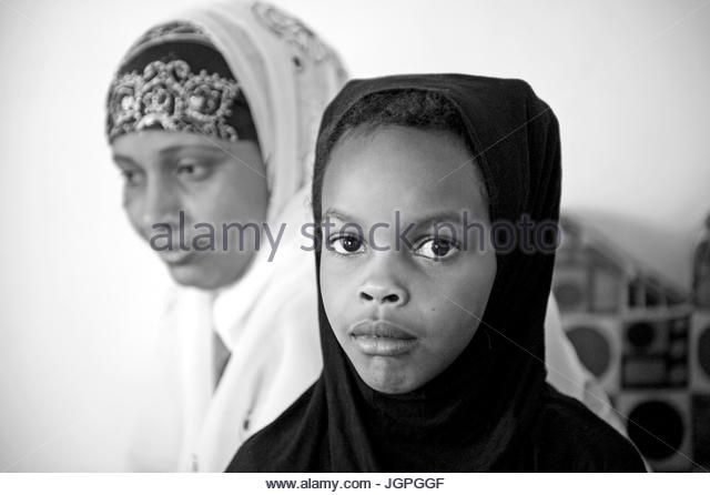 A Muslim, Somali refugee family in their new home in Portland, Oregon - Stock Image