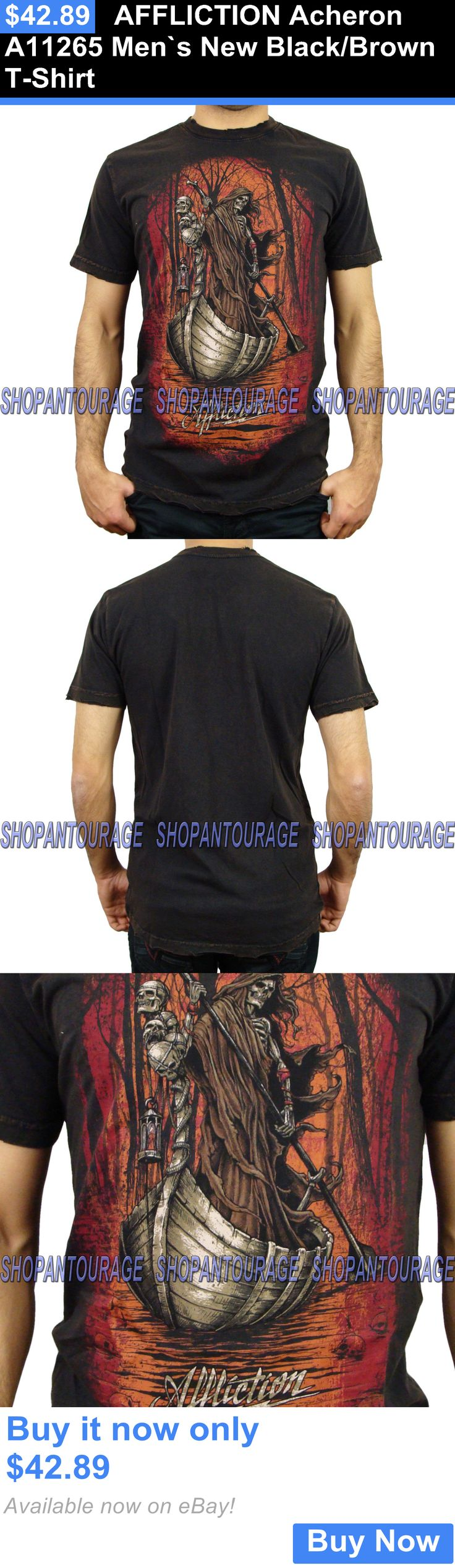 clothing and accessories: Affliction Acheron A11265 Men`S New Black/Brown T-Shirt BUY IT NOW ONLY: $42.89