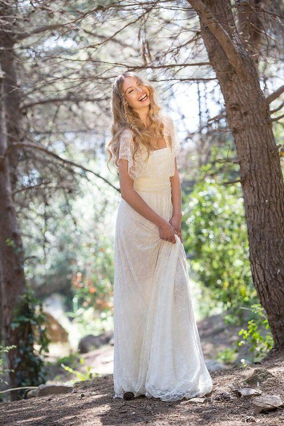 Abito scollato sulla schiena da sposa in pizzo, abito da sposa, Abito da sposa Boemia, maxi vestito in pizzo, abito da sposa champagne