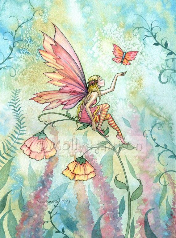 Fantasy Flower Fairy Fine Art Print by Molly Harrison Free 8 x 10 Original Print. $15.00, via Etsy.