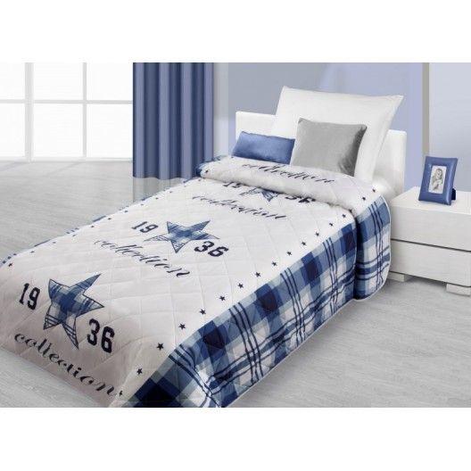 Modro bílý přehoz na postel s 3D motivem modré hvězdy - dumdekorace.cz