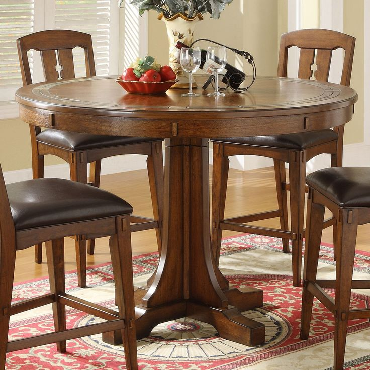 Have to have it. Riverside Craftsman Home Convert A Height Round Dining Table with Slate Inset - Americana Oak - $910.74 @hayneedle