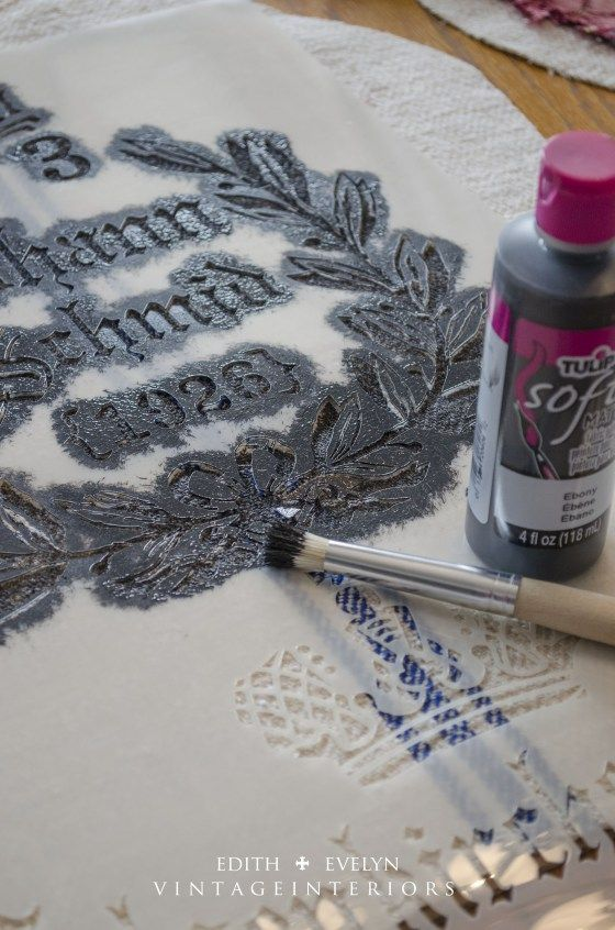 Maison de Stencils and fabric paint for French Grain Sack Chair Tutorial!