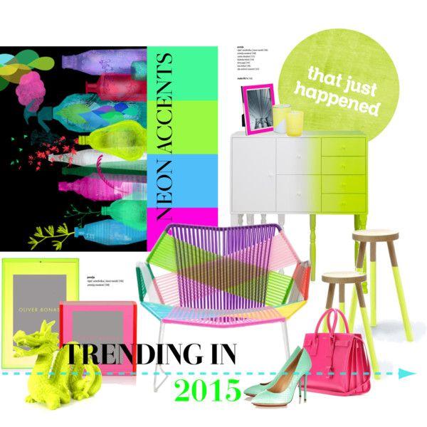 """Trending: Neon accents in 2015"" by gloriettequartet on Polyvore #neon #design"