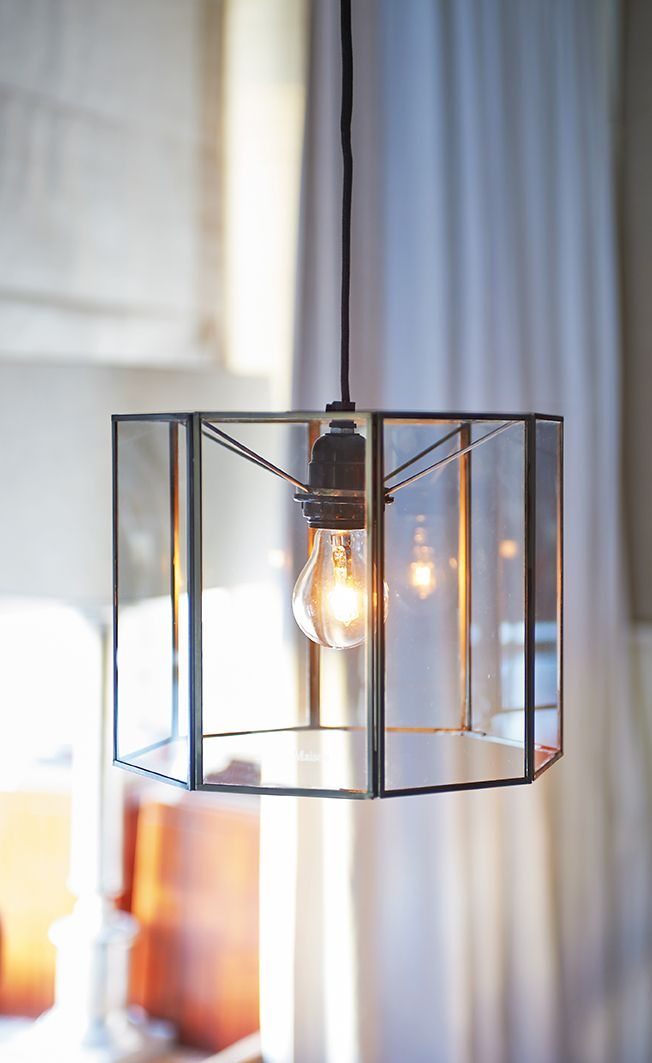 French Glass Bistrot Hanging Lamp 1190,-