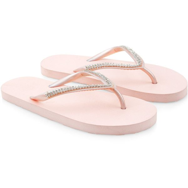 Monsoon Diamante Embellished EVA Flip Flops ($11) ❤ liked on Polyvore featuring shoes, sandals, flip flops, strap flat sandals, sparkly sandals, sparkly shoes, strappy sandals and sparkly flip flops