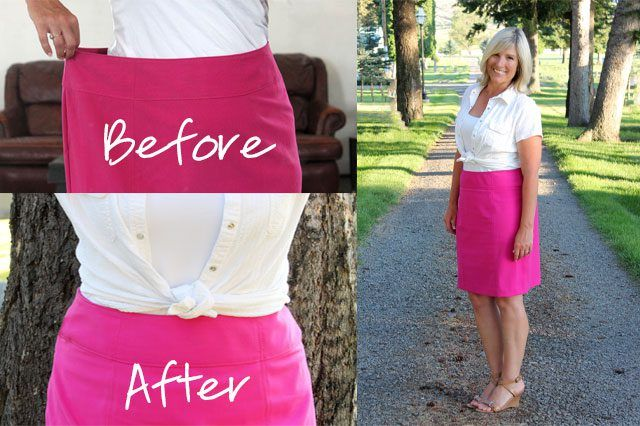 it will only take an afternoon to alter a skirt that is too large to fit perfectly, even if the skirt has a waistband.