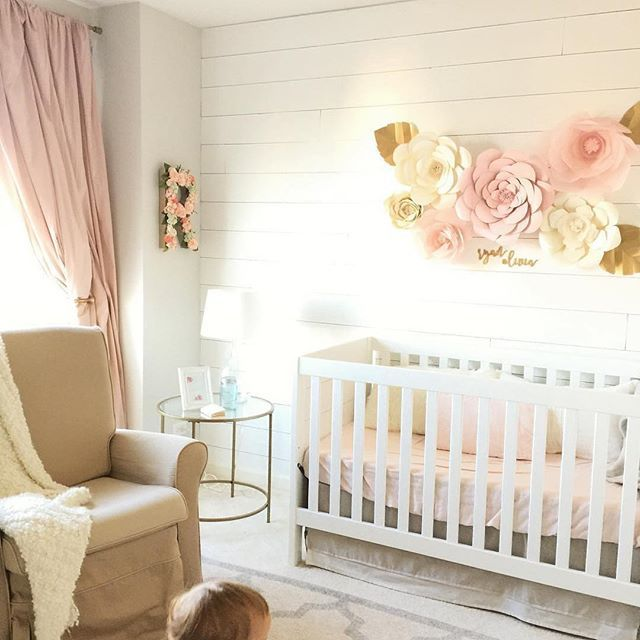 Friday night design inspiration! Love the blush trend in the nursery and I can't get over the flower feature over the shiplap! A girls dream! (scheduled via http://www.tailwindapp.com?utm_source=pinterest&utm_medium=twpin&utm_content=post158100499&utm_campaign=scheduler_attribution)