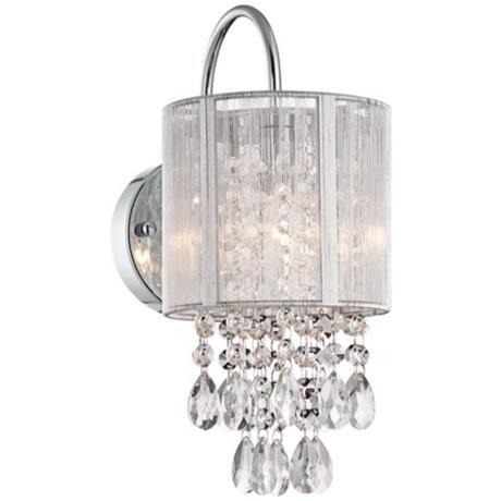 Possini Euro Silver Line 12 H Chrome And Crystal Sconce Bathroom Lightingcrystal Sconcewall