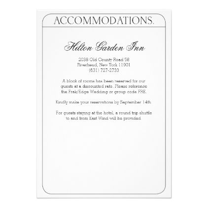 Frankenstein Wedding Accommodations Card - invitations custom unique diy personalize occasions