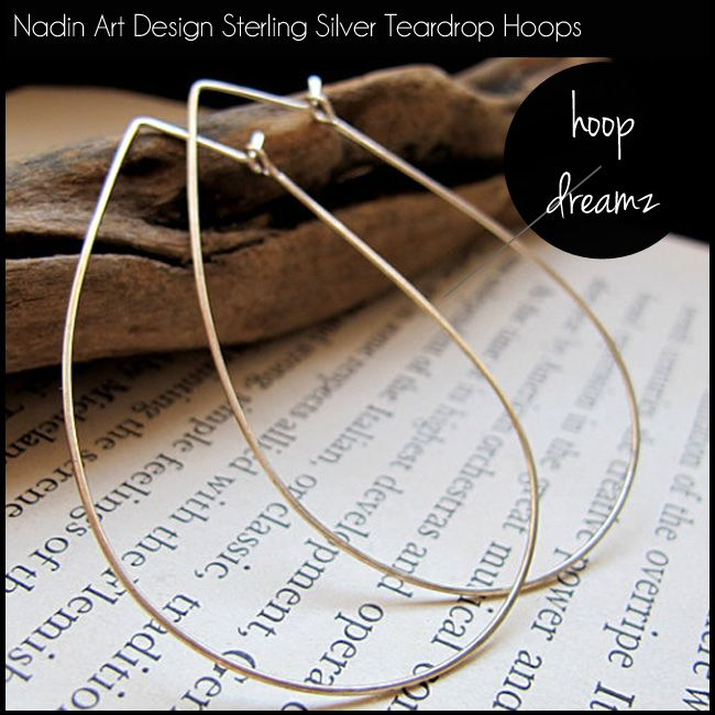 Nadin Art Design Sterling Silver Teardrop Hoops