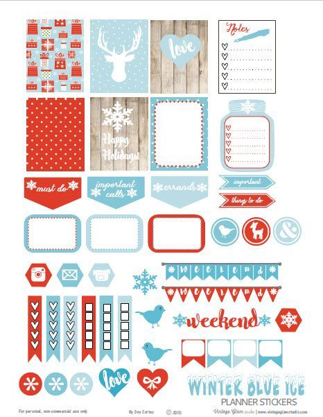 Free Printable Winter Blue Ice Planner Stickers | Vintage Glam Studio