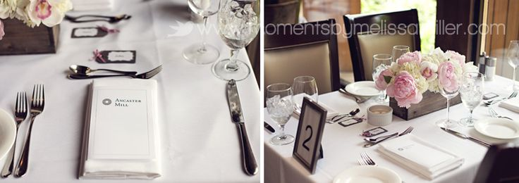 Hamilton ON Wedding  The Ancaster Old Mill  place setting  menu  centerpieces  flowers  tables