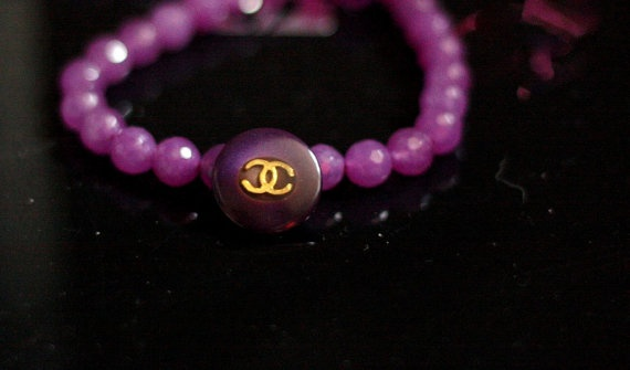 Purple Chanel Logo Button on Facted Agate Beads by Bijouxhouse, $40.00