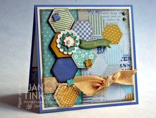 """♥ this shabby chic Baby card by Janine Tinklenberg, featuring the Stampin' Up! """"Six Sided Sampler"""" stamp set and """"Hexagon: Punch, + co-ordinating """"Afternoon Picnic"""" designer Paper Series. The layering and contrasting colours are sew gorgeous! ♥♥♥"""