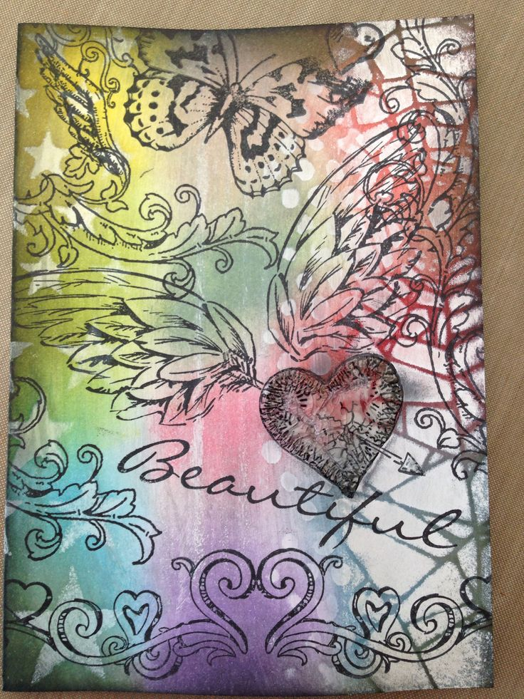 'Beautiful Graffiti' using Tim Holtz Layering Stencils, Distress Paint, Distress Inks and Crackle Paint. March Challenge -Stencils at Live Love Cards.