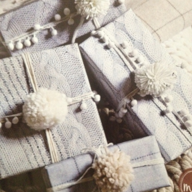 Photocopy knitted jumpers and decorate with hand made Pom poms