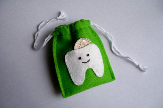 Lime Green Felt Tooth Fairy Bag