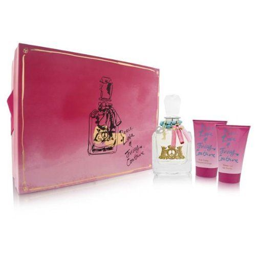 Peace Love and Juicy Couture by Juicy Couture for Women Gift Set, 3 Piece by Juicy Couture. Save 51 Off!. $53.50. Peace Love & Juicy Couture Perfume for Women 3 Pc. Gift Set ( Eau De Parfum Spray 3.4 Oz + Body Cr?me 4.2 Oz + Shower Gel 4.2 Oz ). All our fragrances are 100% originals by their original designers. We do not sell any knockoffs or immitations.. We offer many great sales and discounts making this fragrance cheaper than at department stores.. Packaging for this product may vary…