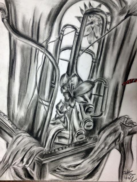 Grade 12 Still-Life drawings in conte /High School Art Ideas