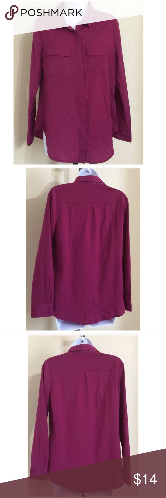 Lumiere Magenta Shirt Size M Lumiere Women's Button down Shirt Size M Purple Color Long Sleeve 1 Button cuffs Hidden Button Row 2 Front Pockets With Flaps & Hidden Button closure Hand Wash 97% Polyester 3% Spandex Armpit to Armpit Approx. 19 Inches Length From Rear Collar Seam Approx. 27 Inches Shoulder Approx. 15 Inches Sleeve From Shoulder Seam Approx. 23 Inches Please Measure To Ensure A Proper Fit MSRP $ 38.00 New With Tag Lumiere Tops Button Down Shirts