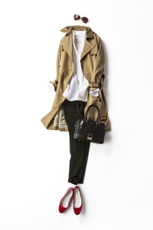 Beige Trench + White Shirt + Black Pants + Red Ballet Shoes