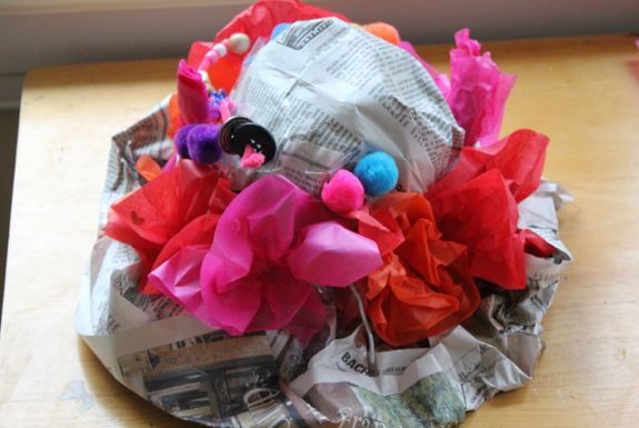 We made these at day camp but put paper mache paste between the 2 layers of paper. (butcher rather than news)