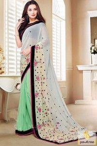 White Green Color Bollywood Saree #saree, #designersaree, #bollywoodsaree more:  http://www.pavitraa.in/catalogs/bollywood-actress-amy-jackson-designer-sarees-online/ more: ?utm_source=rn&utm_medium=pinterestpost&utm_campaign=14jun