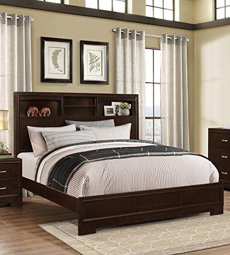 [] Roundhill Furniture Montana Modern 5-Piece Wood Bedroom Set with Bed Dresser Mirror Nightstand Chest Queen Walnut