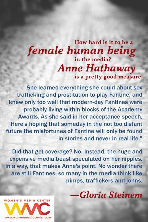 Anne Hathaway on sex trafficking / Gloria Steinem