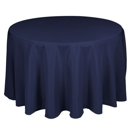 TCPY-90NV 90 Inch Round Polyester Navy Blue Tablecloth
