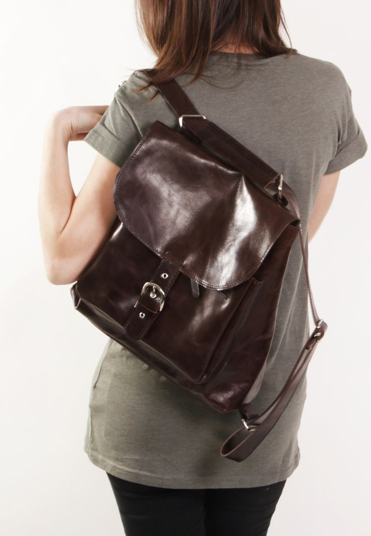 Benjamin Brown - Brown backpack transformer / Brown leather backpack / Brown leather bag /Brown leather purse / Brown bag / Leather backpack