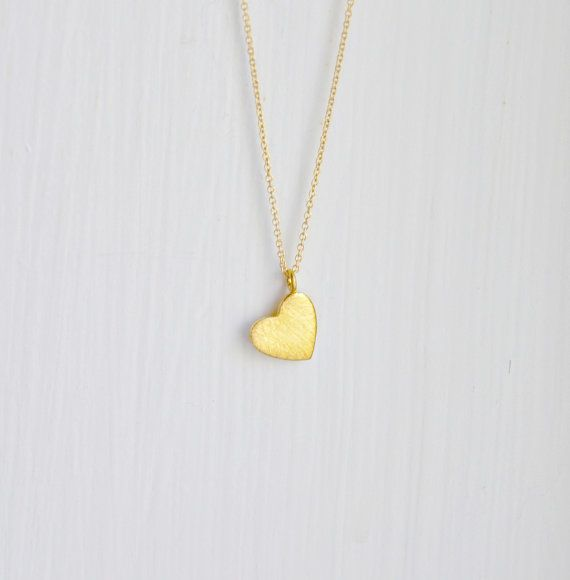 """Simple and sweet....a gold filled delicate chain with a little gold vermeil heart pendant in a brushed finish.  17"""" chain"""