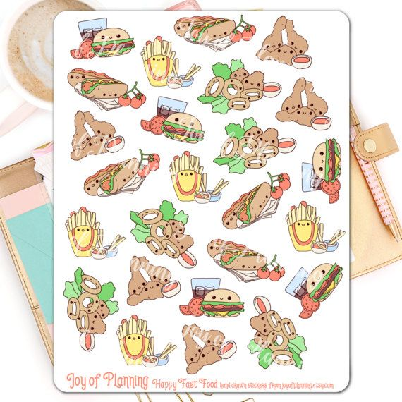 Fast food planner stickers planning cute food by JoyofPlanning