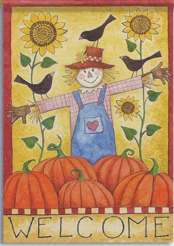 """Pumpkin Scarecrow Fall House Flag by Carson. $11.99. UV resistent. Handcrafted from high-quality specially treated fabric. 28"""" x 40"""". water repellent. Decorative flags make wonderful decorations for your home and garden around the holidays!"""