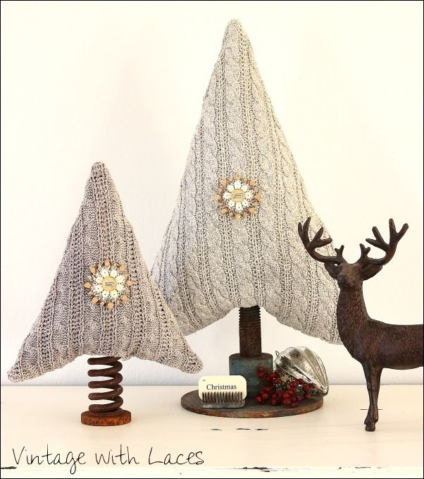 Upcycled Sweater Christmas Trees. These are some of the cutest and most clever trees I've seen. From Vintage with Laces