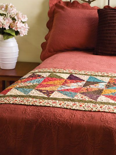 Pretty Quilted Bed Runner - great way to add interest to a bed without doing a complete quilt