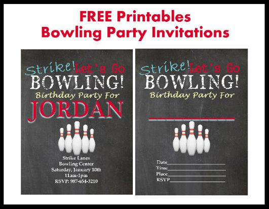 Free Bowling Party Printable Invitations! Free customization too! Love this blog!