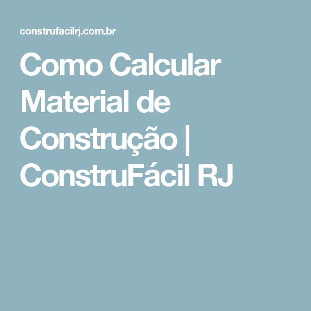 Como Calcular Material de Construção   ConstruFácil RJ