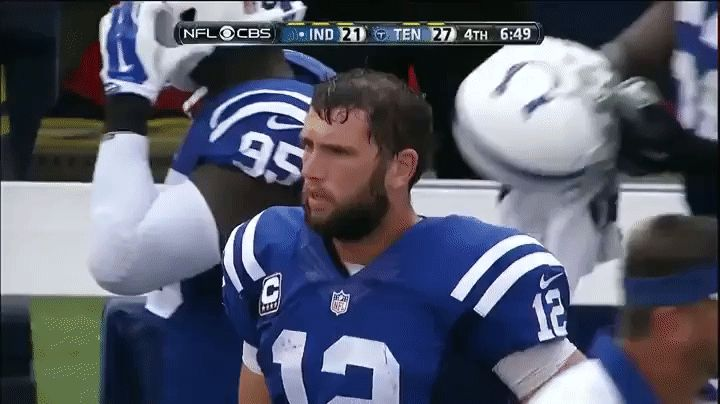 Amazing the kinds of injuries NFL players play though. Tim Hasselbeck here giving Andrew Luck a pat on the chest in 2015
